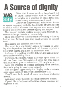 Langley Times - Sources Langley Food Bank - Editorial